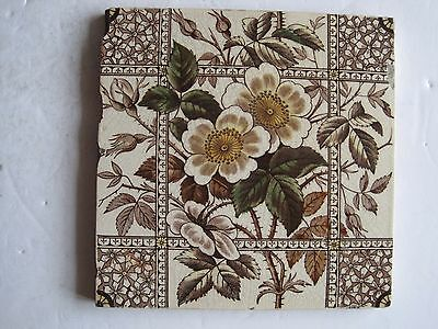 Antique Victorian T & R Boote Print And Tint Wall Tile  C1895 - Wild Roses