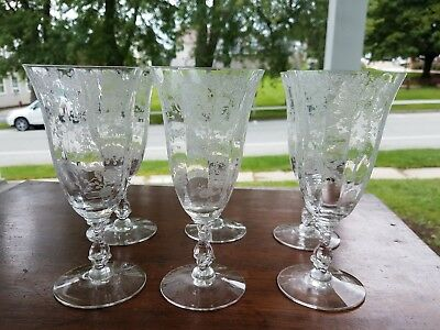 (6) Cambridge Glass Rosepoint Pattern Crystal Clear Etched Tea Glasses