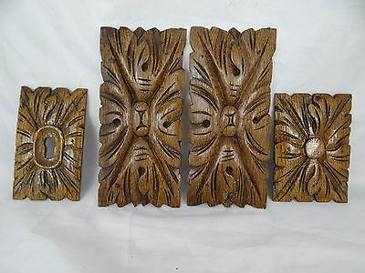 Antique French Hand Carved Oak Salvage Trim 4 pieces