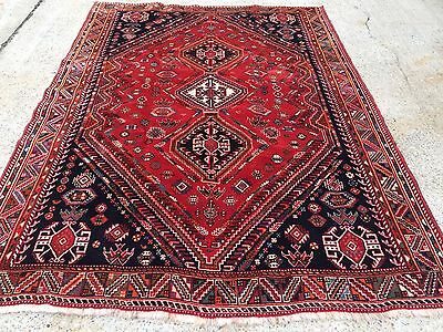 Vintage Traditional Persian Shiraz Rug Wool Oriental Hand Made Rug 192x267cm