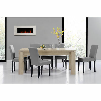 esstisch 180x95 eiche weiss 6 st hle hellgrau esszimmer tisch eur 329 99. Black Bedroom Furniture Sets. Home Design Ideas