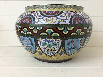 Antique Asian ? Large Enamelled Copper Jardiniere Large Eastern