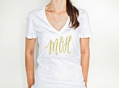 Maid of Honor Gift or Matron of Honor White Shirt in Gold GLITTER T-Shirt V-Neck