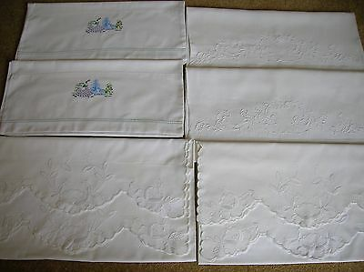 3 X Pairs Of Vintage Hand Embroidered Crinoline Lady/scalloped/etc Pillow Cases