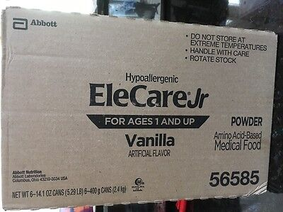 NEW BOX EleCare VANILLA Jr Formula EXP 04/2019 6 CANS 14.1oZ