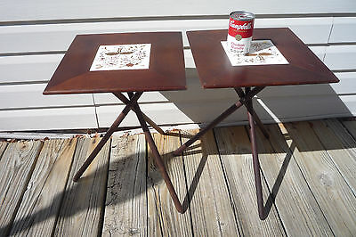 PAIR MCM VTG Collapsible Folding Tables - Square Top w/ Tile Insert -Tripod Legs