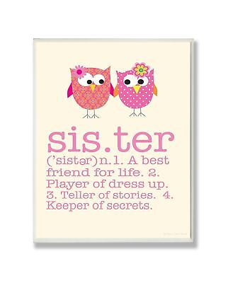 Stupell Home Dcor Definition Of Sister With Pink Owls Rectangle Wall Plaque 1...