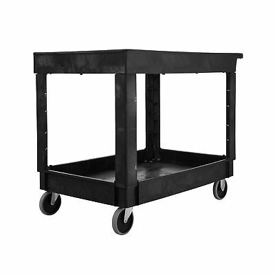 "Rubbermaid Commercial Utility Cart Lipped Shelves Medium Black 4"" Non-Marking..."