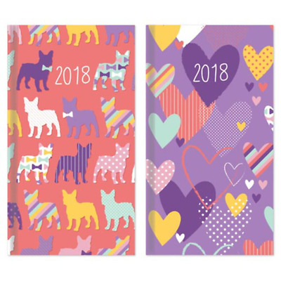 2018 Slim Tall Size Diary Week To View WVT Scotty Dog / Hearts Design Hardback