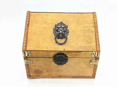 Wooden Treasure Chest / Keepsake Box - Varnished, Brass Fittings