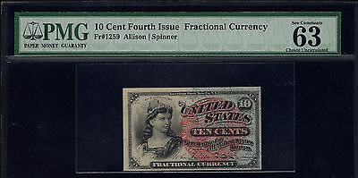 Fr 1259 Fourth Issue 10 Cent Fractional Currency PMG 63 EPQ Choice Uncirculated