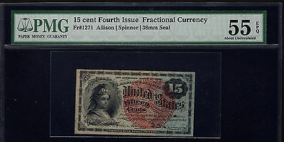Fr 1271 15 Cent Fourth Issue Fractional Currency PMG 55 EPQ About Uncirculated
