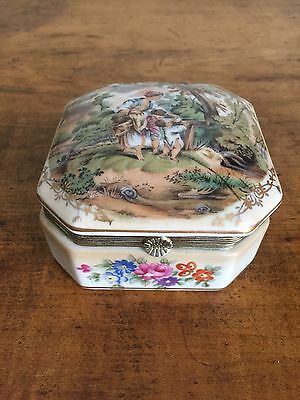 Vintage Signed RS Reproduction Porcelain Hinged Jewelry Trinket Box