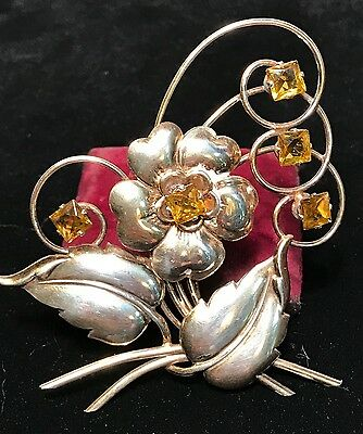 Antique ART NOUVEAU Sterling Silver and Citrine Flower / Floral PIN or BROOCH