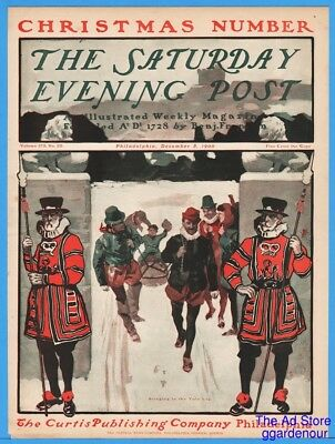 1900 Saturday Evening Post COVER ONLY Bringing In The Yule Log George Gibbs