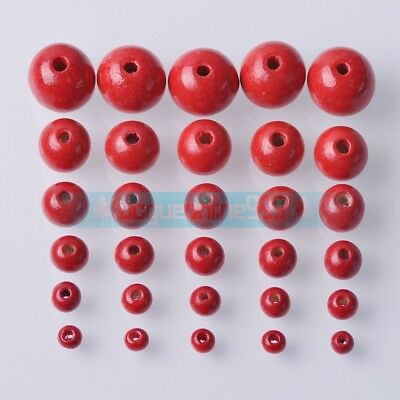Round Red Wood Spacer Bead Natural Wooden Ball Beads DIY Craft Jewelry