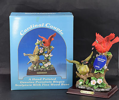 Westminster Cardinal Couple Porcelain Bisque Bird Figurine with Box and Stand