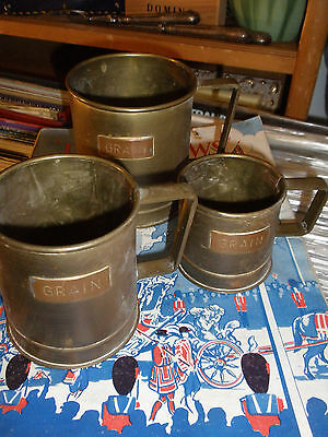 Nice Set Of 3 Made In England  Copper Antique Grain Measures