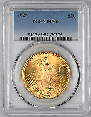1924 Saint Gaudens Gold Double Eagle $20 - PCGS MS65 -