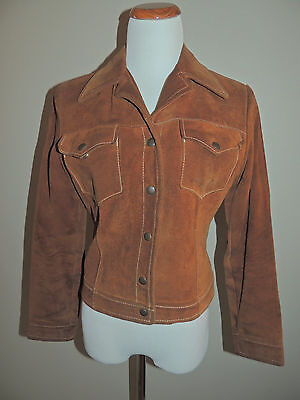 Vintage Pioneer Wear Brown Leather 5 Snap Jacket Usa Made Size 12