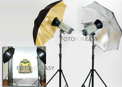New Photo Studio Photography Video Continuous Lamp Light Black Soft Umbrella Kit