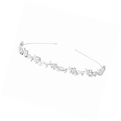 Hobees Women's Wedding Crystal Bridal Flower & Leaves Crown Headband Tiara Headd