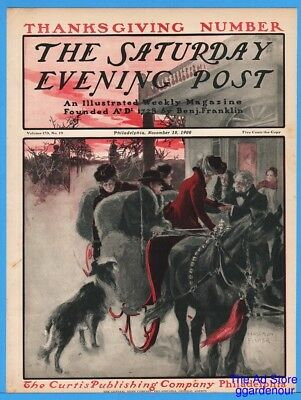 1900 Saturday Evening Post COVER ONLY Harrison Fisher Art Winter Sleigh Dog Art