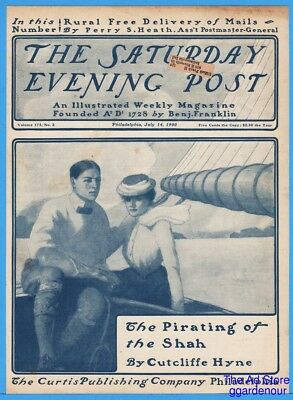 1900 Saturday Evening Post COVER ONLY Man In Bow Tie & Woman Sailing July 14