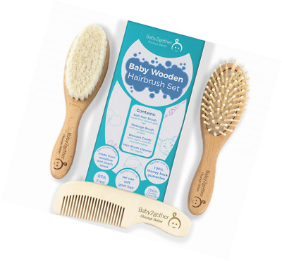 Natural Wooden Baby Soft Hair Brush and Comb Set for Newborns&Toddlers~Brush Cle