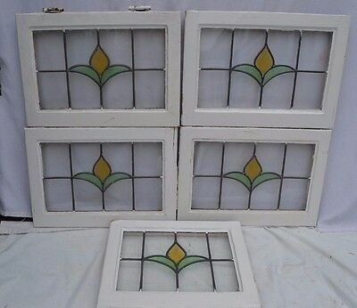 5 British leaded light stained glass windows. R595. MULTIPLE DELIVERY OPTIONS!