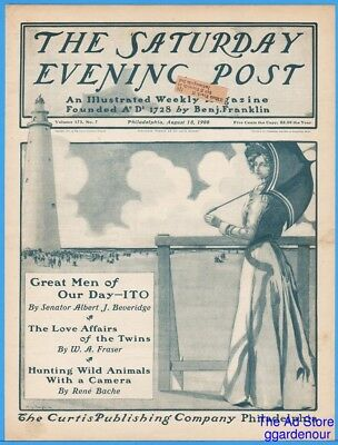 1900 Saturday Evening Post COVER ONLY Mills Thompson Lighthouse Woman Parasol
