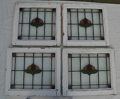 4 British leaded light stained glass windows. R408. WORLDWIDE DELIVERY!!!