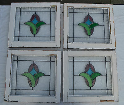 4 British leaded light stained glass windows. R477. WORLDWIDELIVERY!!!