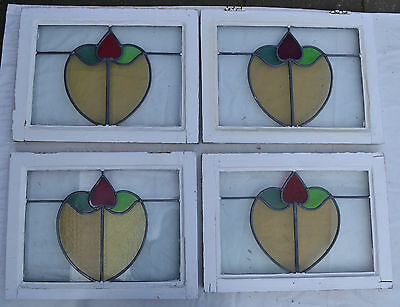 4 British leaded light stained glass windows. R474. WORLDWIDELIVERY!!!