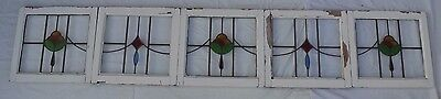 5 joining leaded light stained glass windows. 1 METRE + LENGTH! R533. DELIVERY!