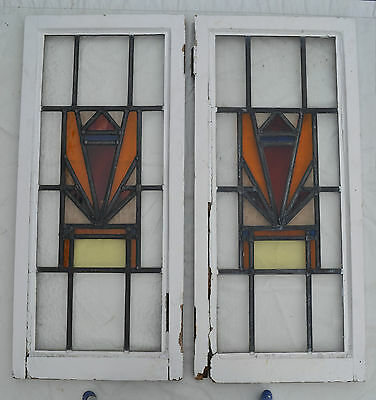 2 art deco British leaded light stained glass window. R303. WORLDWIDE DELIVERY!