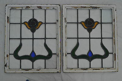 2 British leaded light stained glass windows. R249c. WORLDWIDE DELIVERY!