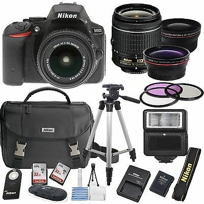 Nikon D5500 Digital SLR Camera Body 3 Lens Kit 18-55mm Lens + 64GB