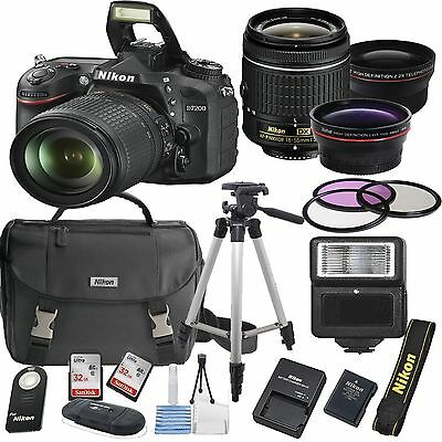 Nikon D7200 Digital SLR Camera Body 3 Lens Kit 18-55mm Lens + 64GB