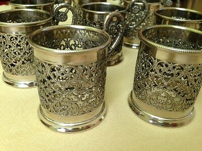 """Set of 8 VTG Silver Plated Tea Cup Holder W.A.signed made in Italy, 2,5"""""""