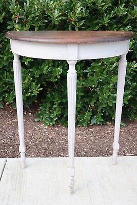 Vintage Neoclassical Louis XVI Demilune Side Table French Country Shabby Chic