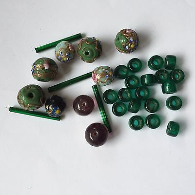 32 Vintage Glass Lampwork Beads Greens/Purple, Round & Bars