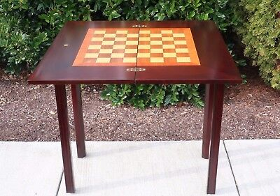 Vintage Levenger Flip Top Folding Game Table Console Chess Checkers