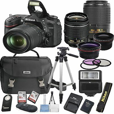 Nikon D7200 Digital SLR Camera Body 4 Lens Kit 18-55mm Lens + 64GB