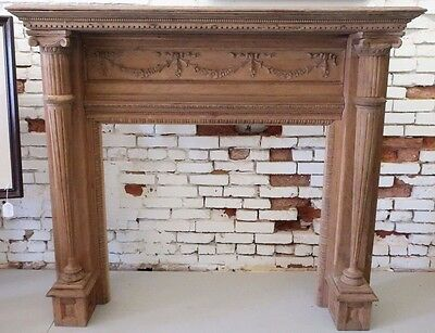 Antique Neoclassical Style Carved Oak Wood Fireplace Mantel