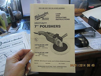 "Milwaukee 7"" Polishers Care & Operating Instructions Owner's Manual"
