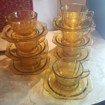 7 Yellow Depression Cup and Saucer Sets Madrid Pattern Federal Glass