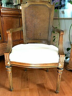 Elegant, Antique Chair, Louis the XVI style, cane, fluted, upholstered seat