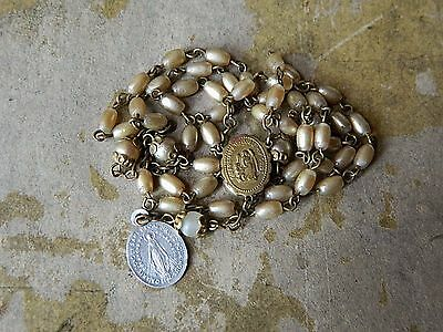 Antique Centerpiece Old Collectible Rosary Chaplet As is w/Medal