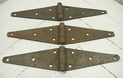 "Vintage Lot of 3 Barn Door Strap Hinge Hardware Rustic Rusty Steel Set 12"" Fold"